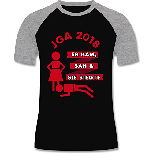 Shirtracer JGA Junggesellenabschied - Er Kam, Sah, Sie siegte JGA 2018 - Herren Baseball Shirt Schwarz/Grau Meliert