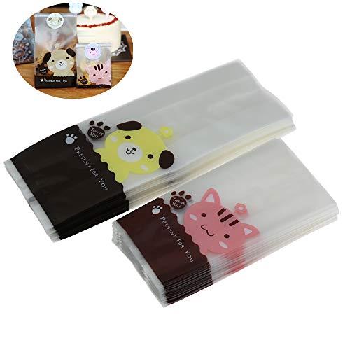 100Stück wiederverschließbarer Cookies Taschen Klar Treat Taschen und 109pcs Süßer Hund Aufkleber für Cookie Bakery Candy Keks Taschen Geschenk Verpackung Verpackung Staubbeutel 50pcs cat + 50pcs dog