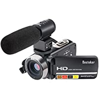 Camera Camcorders, Besteker FHD 1080P IR 24MP 16X Digital Zoom with External Microphone and Touch Screen Video Camcorder