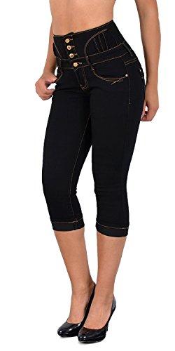 ESRA Damen Capri Hose Hochbund Caprihose Kurze Jeans High Waist bis Übergröße J353