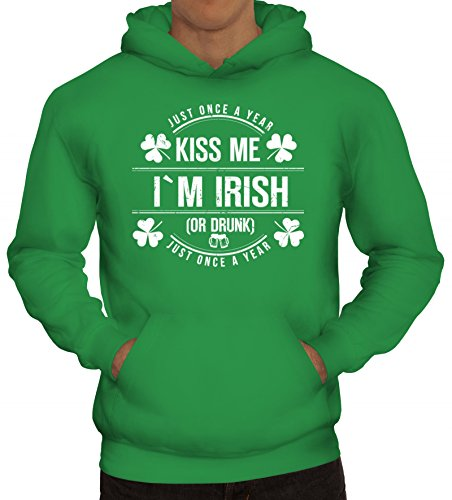 ShirtStreet Irland St. Patrick's Day Partner Gruppen Herren Kapuzenpullover Kiss Me I'm Irish, Größe: XL,Kelly Green
