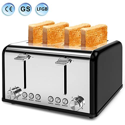 Grille Pain Noir Toaster, Grille-pain 4 fentes, 6 Niveaux de Brunissage Réglable, 1600w Grille Pain Inox Extra Large avec Décongeler Réchauffer et Annuler +Tiroirs de ramasse-Miettes Amovible (Noir)