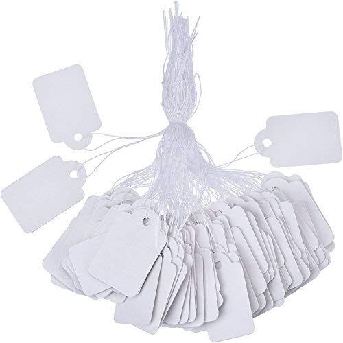 Weiß Markierungsetikette Preisschilder Preisetikette Anzeige Tags mit Hängend Faden, 500 Stück, 35 x 22 mm