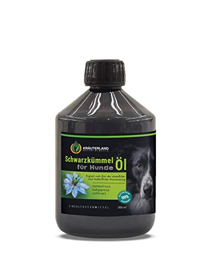 Kräuterland Schwarzkümmelöl für Hunde, 500ml, ungefiltert, kaltgepresst, 100% rein, mühlenfrisch, direkt vom Hersteller, auch zur Fellpflege