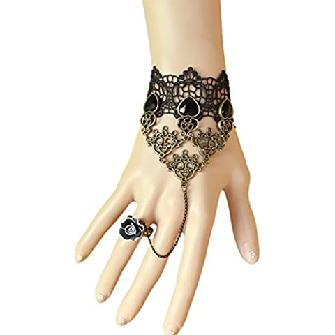 Tiempo Pawnshop elegante encaje negro rosa FamilyMall anillo Lady Wrap pulsera