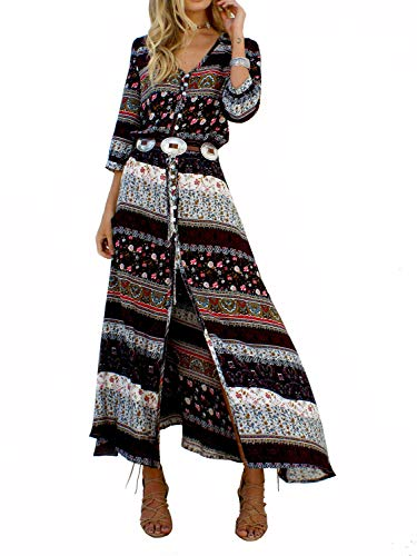 Yidarton Robe Femme Bohème Impression Manche 1/2 Col V Chic Été Floral Robe Maxi Robe de Cocktail Soirée Ceremonie Plage (Brown, Medium)