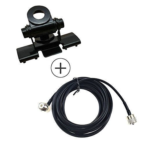 RB-400 Mobile Radio Antenna Mount Bracket with 5M Clip Mount Cable PL259 SO239 Cpmmectpr on Trunk Lid Hatchback Universal for Car Radio WOUXUN Kenwood BAOFENG Motorola PUXING TYT BFDX HYT QYT (Black) Mobile Trunk