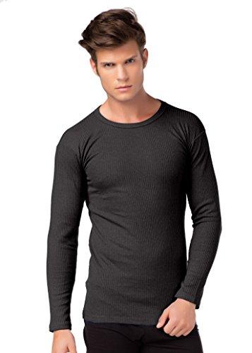 Herren Thermo Unterhemd Langarm innen angeraut Baumwolle stylenmore Farbe anthrazit, Größe 3XL