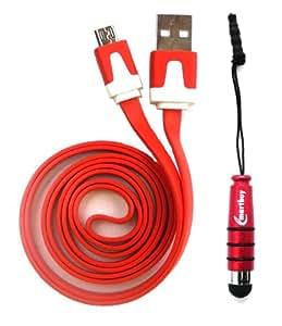 Emartbuy® Duo Pack Für Touchlet Pc X8 PX - 8841- 919 7.85 Inch Tablet - Rot Metallic Mini Stylus + Rot Wohnung Anti-Tangle Micro USB Sync Übertragen von Daten und Ladekabel