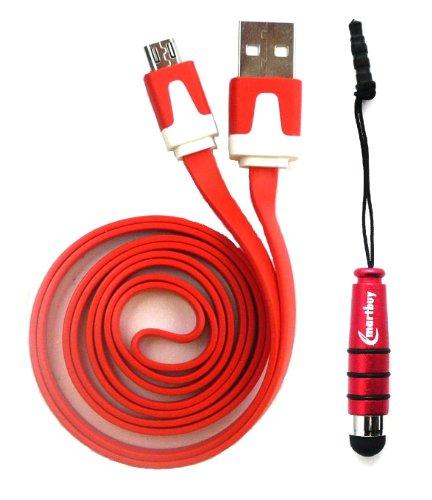 Emartbuy® Excelvan BT-1077 / Excelvan BT-MT10 / Excelvan BT-1009 / Excelvan M-106M Tablet PC Duo Paquete - Rojo Lápiz Óptico Metálico + Rojo Cable Plano Antienredos para Transferencia de Datos y Cargador Micro USB Sync