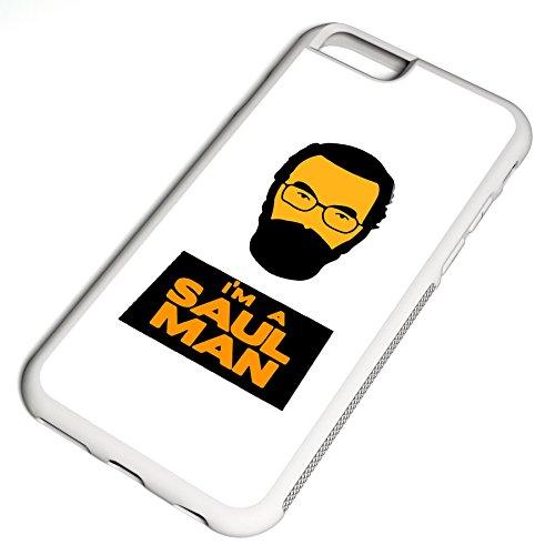 Smartcover Case I´m a Saul Man z.B. für Iphone 5 / 5S, Iphone 6 / 6S, Samsung S6 und S6 EDGE mit griffigem Gummirand und coolem Print, Smartphone Hülle:Samsung S6 EDGE weiss Iphone 6 / 6S weiss