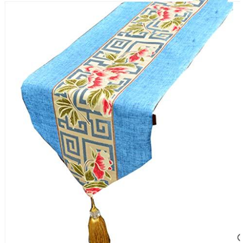 (Tischläufer/chinesische Baumwolle Leinen Tischfahne, Zen Quaste Tischdecke, Beige | Blau, Heimtextilien | Hochzeit | Party | Fotografie | Geburtstag | Geschenk, 30x160cm | 30x200cm)