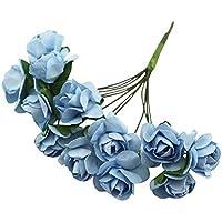 TOOGOO 144 X Flor de Rosa de Papel Artificial para Decoracion de Artesania de Boda Azul claro