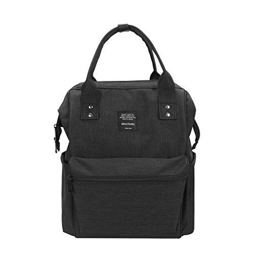 HEYI Wickeltasche Rucksack mit Isolierten Taschen und Wasserdichten Stoff, Multi-Funktion Kinderwagen Organizer - Große, Mode, Langlebig (Schwarz)