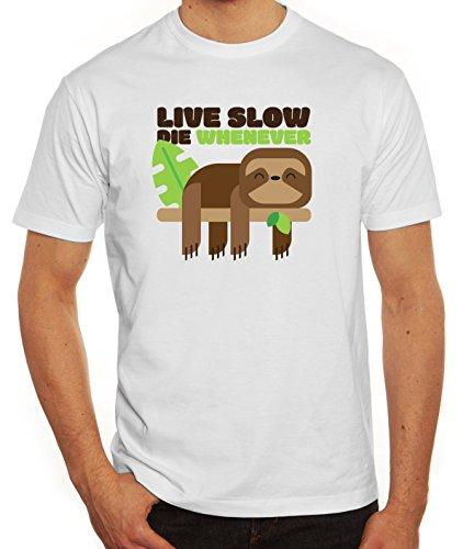 Faultier Herren T-Shirt mit Live Slow Die Whenever Motiv von ShirtStreet Weiß