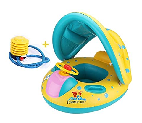 Avkkey Inflatable Baby Pool Float Swimming Ring Children Toddler Aid Seat Boat with Sun Canopy and Air Pump Bath Toy for the Age 6 to 36 Months (Yellow)