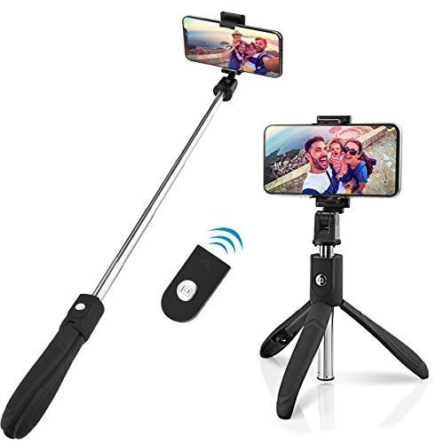 Abafia selfie stick treppiede, 3 in 1 bastone selfie bluetooth rotazione a 360 ° con telecomando per iphone xs/x / 8 / samsung s9 / s8 / huawei p20 / p10 e altri telefoni android e ios (4.5-6.5'')