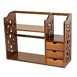 DULPLAY Mit schubladen Bambus Bücherschrank, Braun Desktop-Organizer 2-Tier Mini-Schreibtisch Vintage Einlegeboden Multifunktionale Für Zuhause oder im büro-A 50x21x45cm(20x8x18inch)