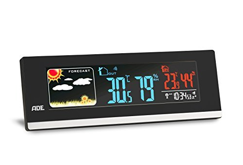 ADE WS1601 Estación meteorológica digital con radio-reloj-alarma y sensor externo. Higrómetro - USB para carga de Smarthphones (Negro)