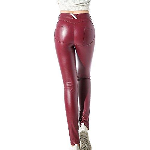 Fashion Damen Pu-leder (Damen Leggings Leder Strumpfhosen Treggings Hose Skinny Kunstleder PU Lederhose Leggins Yoga Hosen Weinrot XXL hibote)