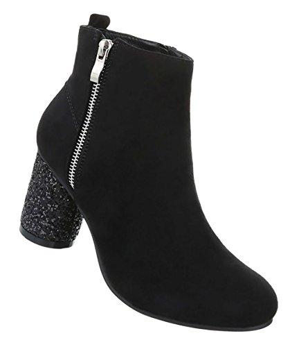 Damen Schuhe Stiefeletten Boots Schwarz 39