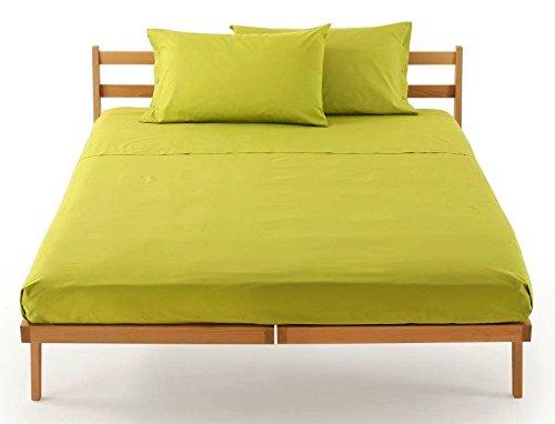Lenzuolo sotto con angoli zucchi clic clac percalle di puro cotone letto singolo una piazza cm 90 x 200 100% made in italy (verde mela - 3205)