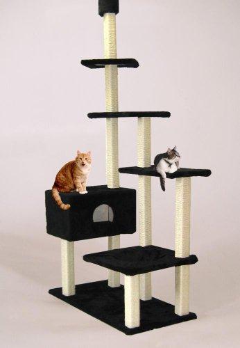 katzeninfo24.de Cat Dream Kratzbaum, Katzen-Kletterturm, Kratzstamm Big House raumhoch in schwarz, Maße: ca. 120 x 75 cm