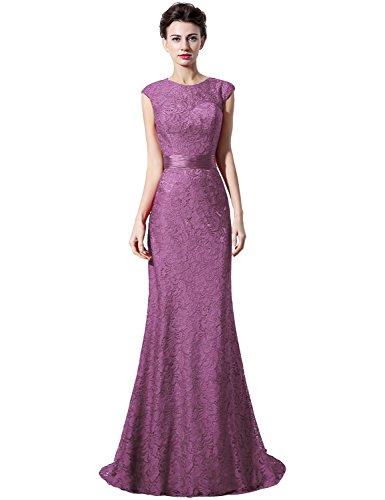 Sarahbridal Damen Lang Spitze Rueckenfrei Abendkleider Ballkleid mit Perlen SLX018 Mauve