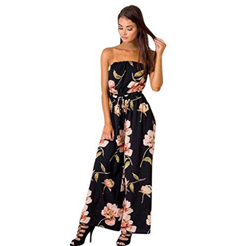 OverDose Damen ärmellos boho Jumpsuit Romper aus Schulter Blumen Spielanzug Damen Romper Playsuit Lange Overall Hose (S, Schwarz) (Pocahontas Prinzessin Kostüm)