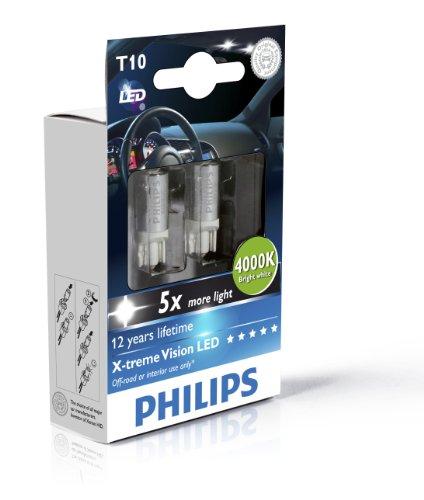 Philips 129644000KX2 - W5W Led 4000K Bright White 2Pz, 12V, 1W Attacco W2.1X9.5D