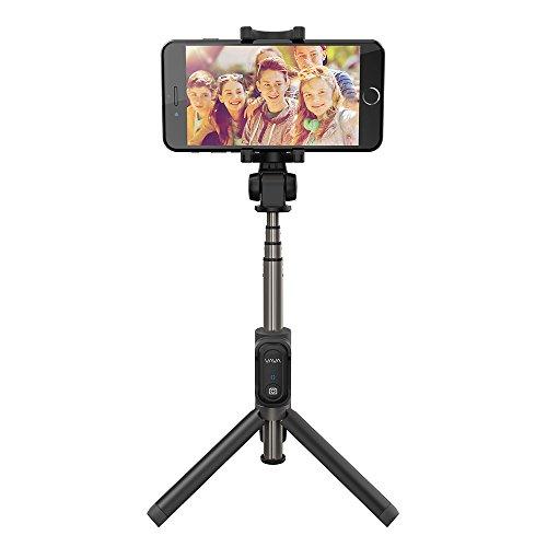 Bastone Selfie VAVA 2-in-1 Monopiedi + Treppiedi, Selfie Stick con Telecomando di Scatto Remoto Bluetooth (Doppia Rotazione a 360 Gradi, Estendibile fino a 60 cm / 24 in, Compatibile Smartphone Universale)
