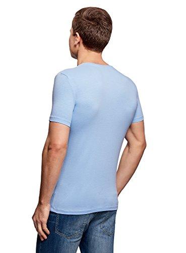 oodji Ultra Uomo T-Shirt in Cotone Basic Blu (7001N)