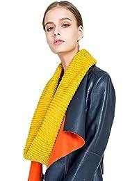 heekpek Otoño Invierno Mujer Bufanda de Lana de Punto Bufanda Caliente Moda Bucle Bufanda Clásico de
