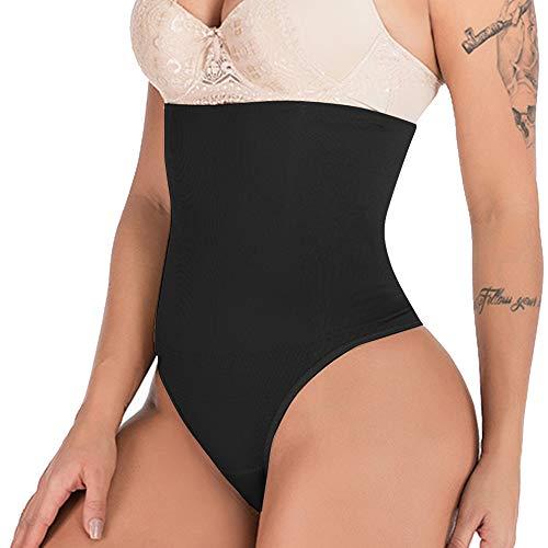 DODOING Damen Shapewear String Tanga Bodyshaper figurformende Unterwäsche Bauchweg Miederslip Hohe Taille Shaper Panties- M/L(Taille 26.4-30.3 inch), Schwarz -