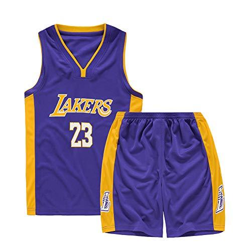 BUY-TO Maglia James Uniforme da Basket per Bambini T-Shirt da Bambino Pantaloncini Lakers Adatto per Bambini di et/à Compresa tra 8 e 15 Anni Ragazzi Ragazze