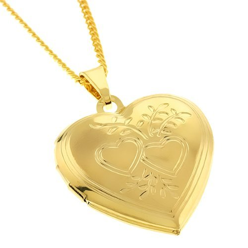 Memoir Gold plated Heartshape, Forever Close to heart,openable photo locket Chain pendant for everyone