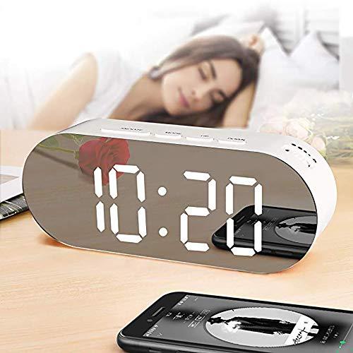 YQG LED Wecker Digital Reisewecker,Digitaler Wecker,Spiegel LED Tischuhr Alarm Clock Geräuschlos,USB Or Batteriebetrieben 12/24 Stundenanzeige, Snooze, Dual-Alarm,Innenthermometer,Geschenk(Weiß) (Batteriebetrieben Duale Wecker)