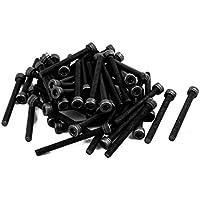 Portal Cool 50 piezas M3 x 30 mm Acero de aleación Perno hexagonal Cabeza hueca Tapa Máquina Tornillo Negro