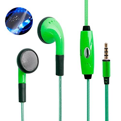 Metall-Kopfhörer von Mamum, Sport, LED-Leuchte, Kopfhörer, Ohrhörer, Headset, Stereo, Glow-in-the-dark Einheitsgröße grün Audio-ohrhörer