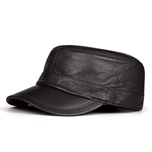 FERZA Home Der Herbst- und Winterhut der Männer hat einen flachen Hut und eine Flache Kappe aus Leder (Color : Black, Size : 21.25-21.65inch) -