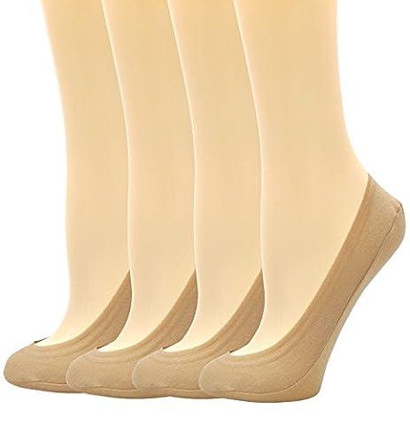 Womens Ladies Premium Coton Low Cut No Show Non Slip Invisible Liner Chaussettes cachées 4 Pairs