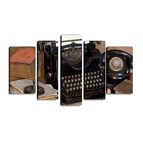 Inbel Kunst Vintage-Schreibtisch Wandbilder abstrakt Leinwandbild Digitalkunstdruck leinwanddrucke Eigenes Design Gemälde Wanddekoration mit Holzrahmen 5-teilig