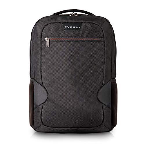 Everki Studio - Laptop Rucksack für Notebooks bis 14,1 Zoll (36 cm) / MacBook Pro 15 Zoll mit integriertem Ecken-Schutz-System, Trolley-Lasche und weiteren hochwertigen Funktionen, Schwarz