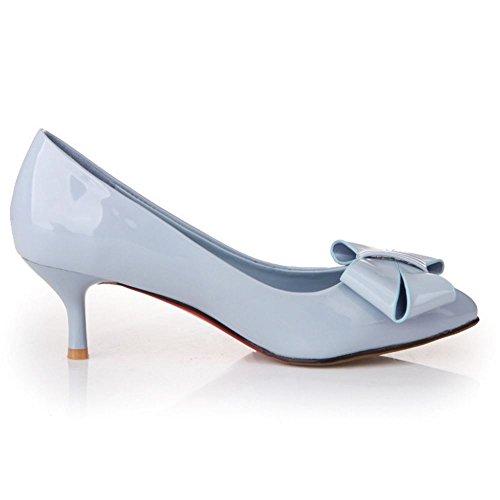 COOLCEPT Femmes Mode Slip On Heel Chaussures Talon hauts Escarpins With Bowknot Blau