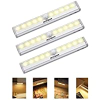 Wireless Motion-Sensoring Night Light, Battery Operated Lights, Magnetic Security Lighting Multiple Use Nightlight for Hallway Stairway Wall Bathroom (3 Packs, Warm White)