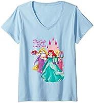 Femme Disney Princess Ariel Rapunzel and Aurora Holiday T-Shirt avec Col en V