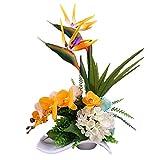 Jnseaol Kunstblumen Künstliche Blumen Wohnzimmer Schlafzimmer Hochzeit Party Küche Dekoration Keramik Topf Urlaub Geschenk Gelb-02