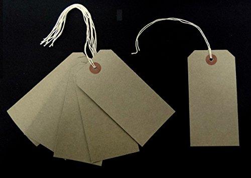 Buff braun 108 x 54 mm, Verstärkte Gepäckanhänger, auf Etiketten: 50 Stück, Efeublatt