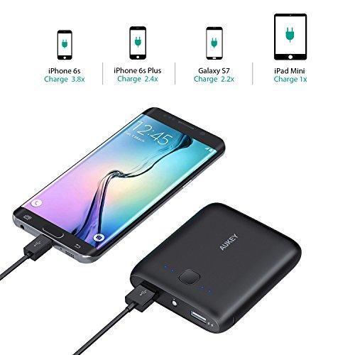 AUKEY-Cargador-Porttil-10000mAh-Salida-5V-1A-y-5V-21A-Entrada-Micro-USB-de-21A-para-iPhone-HUAWEI-iPad-Kindle-etc-con-un-Cable-Micro-USB-de-20cmNegro