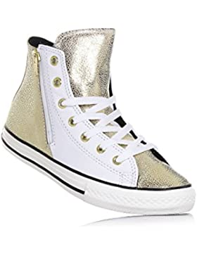 CONVERSE - Sneaker stringata bianca e dorata, in pelle, con chiusura zip laterale, logo laterale, cuciture a vista...